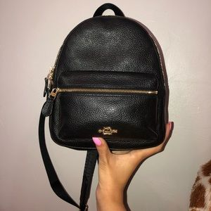 black small coach backpack